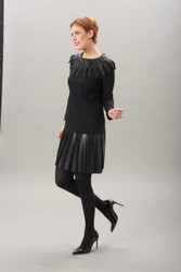 Algo Black Dress with Leather Skirt and Plastic Lace Collar