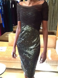 Badgley Mischka Mesh Sequin Dress