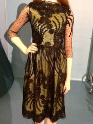 Luisa Beccaria Embroidered Lace Taffeta Cocktail Dress