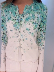 Blumarine Green and White Long Sleeve Patterned Dress