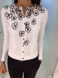 Blumarine White Blouse With Black Flowers