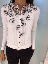 Blumarine White Blouse With Black Flowers