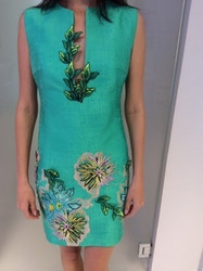Blumarine Teal Floral Dress