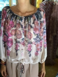 Luisa Beccaria Floral Long Sleeve Blouse