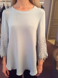 Catherine Regehr White Blouse With Fringe Sleeve