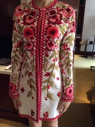 Naeem Khan Long Sleeve Floral Jacket