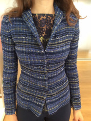 Giorgio Grati Blue Patterned Long Sleeve Sweater