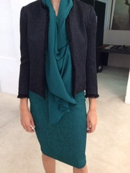 Plein Sud Green Knee Length Dress and Black Waist Coat