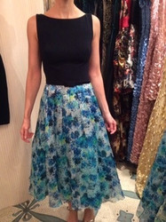 Theia Black Top With Teal Floral Dress