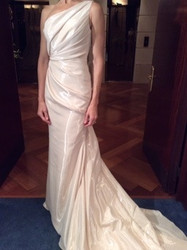 Badgley Mischka One Shoulder Floor Length White Evening Dress