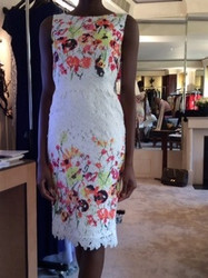 Badgley Mischka White Floral Sleeveless Dress