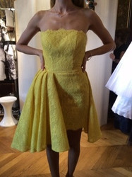 Isabel Sanchis Yellow Strapless Evening Dress