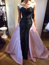 Isabel Sanchis Black and Pink Sleeveless Evening Dress