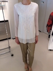 Escada White Long Sleeve Blouse