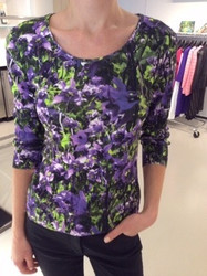 Escada Purple and Green Floral Blouse