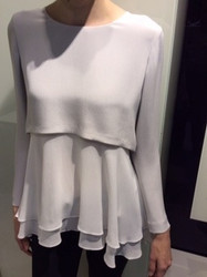 Georges Rech White Long Sleeve Layered Blouse