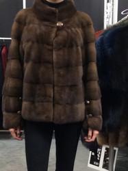 Gorski Brown Waist Length Fur Coat