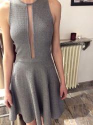 Vicedomini Gray Sleeveless Slit Dress