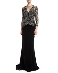Marchesa Long-Sleeve Illusion-Neck Gown