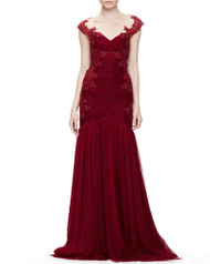 Marchesa Embroidered Lace and Tulle Gown