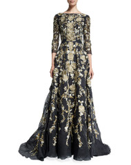 Marchesa 3/4-Sleeve Floral-Embroidered Ball Gown