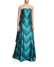 Christian Siriano Strapless Chevron Ball Gown