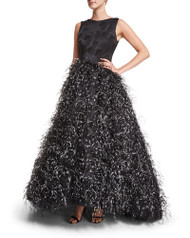 Christian Siriano Sleeveless Feather-Skirt Gown