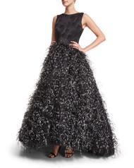 Christian Siriano Sleeveless Feather-Skirt Gown