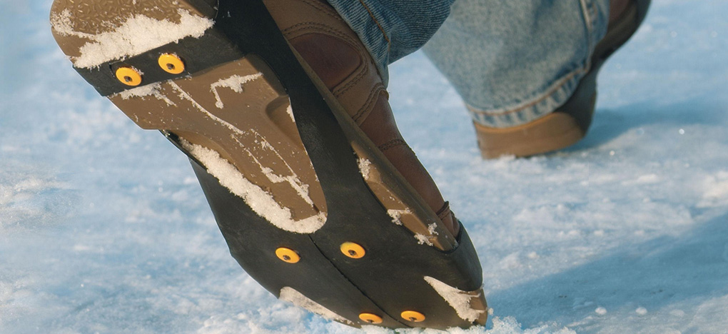Walking in Industrial strength ice cleats