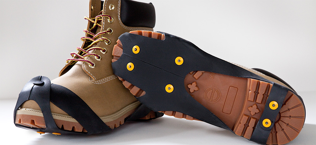 Industrial Strength Ice Cleats on Work Boots