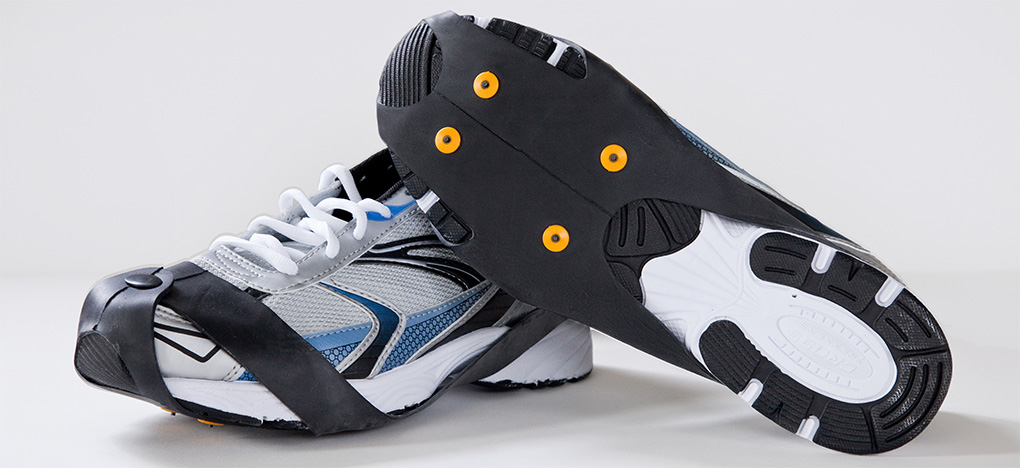Industrial Strength Ice Cleats on Running Shoes