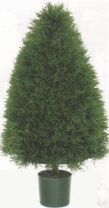 One 3 foot Artificial Cypress Cone Topiary Bush Potted