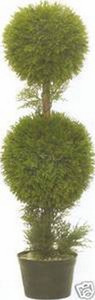 One 3 foot Outdoor Artificial Cypress Cedar Double Ball Topiary Tree Potted UV Rated Plant