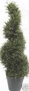 One 3 foot Outdoor Artificial Rosemary Wide Spiral Topiary Tree Potted UV Rated Plant