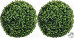 Two 16 inch Outdoor Artificial Boxwood Topiary Balls