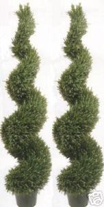 Two 6 foot 4 inch Artificial Wide Rosemary Spiral Topiary Trees UV Rated Potted Plants