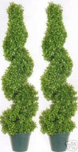 Two 3 foot 3 inch Artificial Boxwood Spiral Topiary Trees