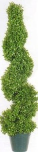 One 3 foot 3 inch Artificial Boxwood Spiral Topiary Tree Potted