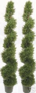 Two 6 foot 4 inch Outdoor Artificial Cedar Cypress Spiral Topiary Trees UV Rated Potted Plant
