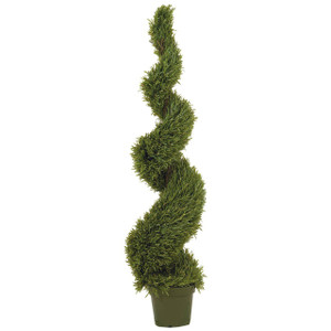 One 5 foot 4 inch Outdoor Artificial Wide Rosemary Spiral Topiary Tree Potted UV Rated Plant