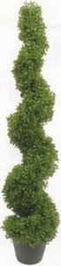 One 5 foot 3 inch Outdoor Artificial Boxwood Spiral Topiary Tree Potted UV Rated Plant