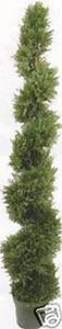 One 6 foot 4 inch Outdoor Artificial Cedar Cypress Spiral Topiary Tree UV Rated Potted Plant