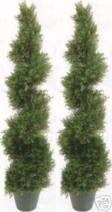 Two 4 foot 3 inch Outdoor Artificial Cedar Cypress Spiral Topiary Trees UV Rated Potted Plant