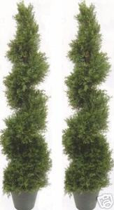 Two 5 foot 4 inch Outdoor Artificial Cedar Cypress Spiral Topiary Trees UV Rated Potted Plant
