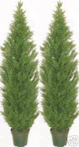 Two 7 foot Artificial Cedar Topiary Trees Potted Outdoor Cypress UV Rated