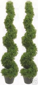 Two 5 foot 3 inch Artificial Boxwood Spiral Topiary Trees UV Rated