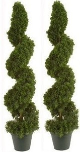 Two 38 inch Artificial Cedar Spiral Topiary Trees