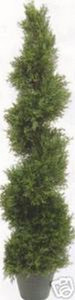 One 5 foot 4 inch Outdoor Artificial Cedar Cypress Spiral Topiary Tree Potted UV Rated Plant