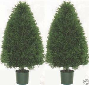Two 3 foot Potted Artificial Cone Cypress Topiary Bushs
