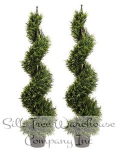 Two 4 foot Outdoor Artificial Rosemary Spiral Topiary Trees UV Rated Plants